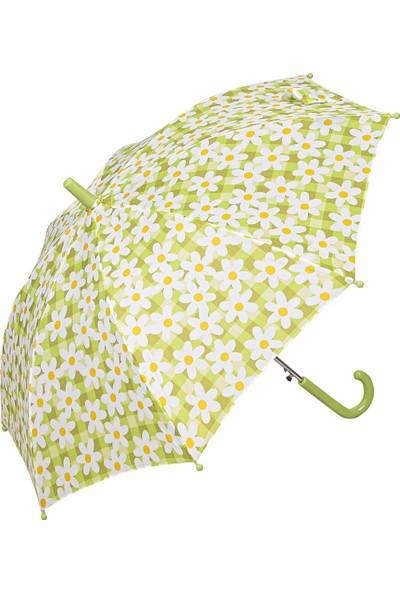 Snotline Kız Çocuk Baston Şemsiye Çiçek Desen Yeşil 15J