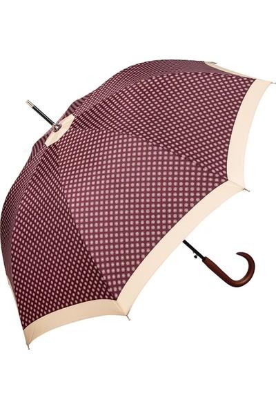 Snotline Kadın Uzun Baston Kadın Şemsiye Desenli Bordo 23L