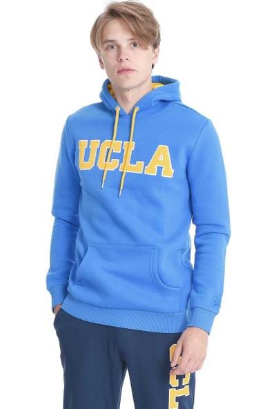 Ucla Mavi Kapüşonlu Aplikeli Erkek Sweatshirt