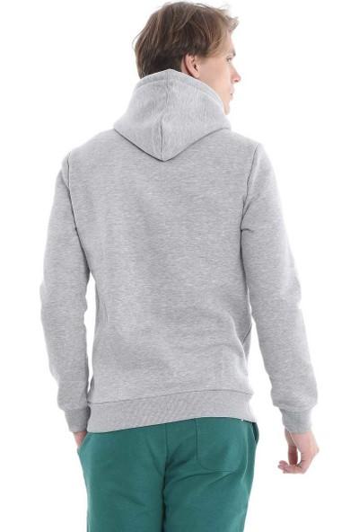 Ucla Gri Kapüşonlu Aplikeli Erkek Sweatshirt
