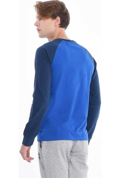 Ucla Mavi Bisiklet Yaka Baskılı Erkek Sweatshirt