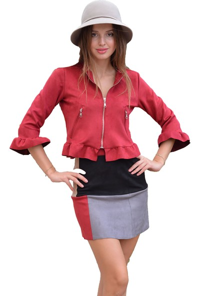Ayriss Fırfırlı Bordo Kadın Ceket