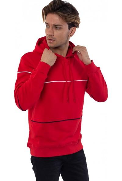 Louis Park Kapüşonlu Çizgili 3 İplik Sweatshirt