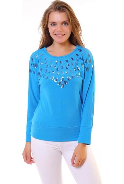 Blue Gym Kadın Mavi Kadın Sweatshirt Shirt Pullu