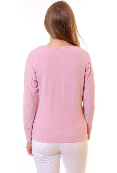 Blue Gym Kadın Pembe Kadın Sweatshirt Shirt Pullu