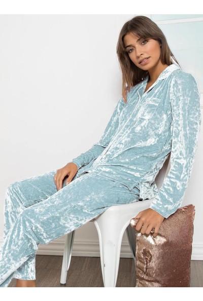 Ayyıldız Kadın 54144 Kadife Pijama Takımı Mavi
