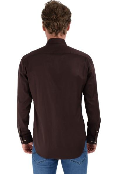 Morven Slim Fit Trend Uzun Kollu Gömlek Bej