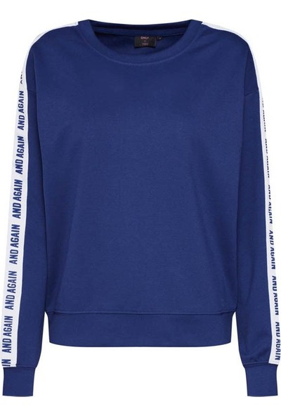 Only Kadın Sweat Texas O Neck 15185785-Blu
