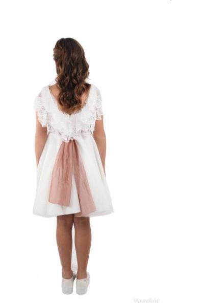 Butik Happy Kids Kısa Beyaz Kayık Yaka Yakası Güpürlü Kuşaklı Elbise