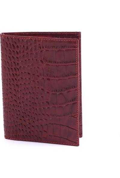 Modica Action Serie Hakiki Deri Erkek Pasaportluk / Kartlık - Croco Kırmızı