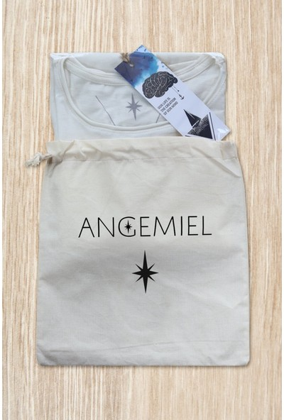 Angemiel Wear Motifli Fil Pamuklu Beyaz Kadın Askılı Bluz Atlet