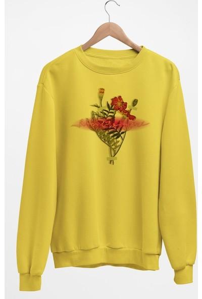 Angemiel Wear Kız Gibi Koş Çiçek Buketi Kadın Sweatshirt
