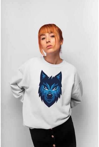 Angemiel Wear Blue Wolf Kadın Sweatshirt