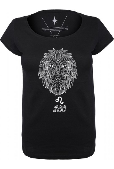 Angemiel Wear Aslan Burcu Leo Pamuklu Kadın Siyah T-Shirt