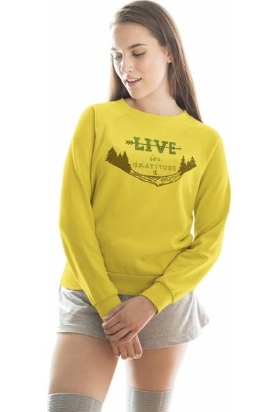 Angemiel Wear Live İn Gratitude Kadın Sweatshirt