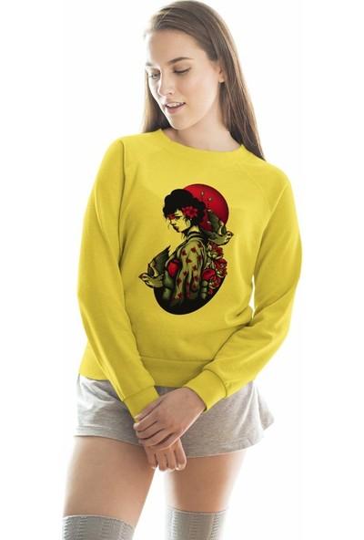 Angemiel Wear Geleneksel Kıyafetli Japon Kızı Kadın Sweatshirt