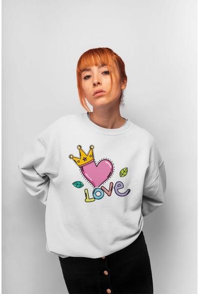 Angemiel Wear Love Yazılı Pembe Kalp Kadın Sweatshirt