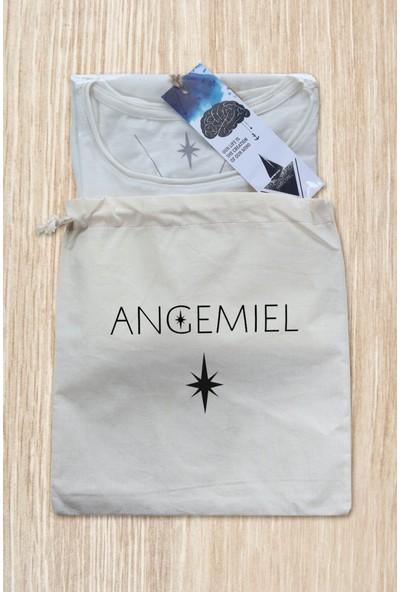 Angemiel Wear Üç Gözlü Kedi Pamuklu Beyaz Kadın T-Shirt