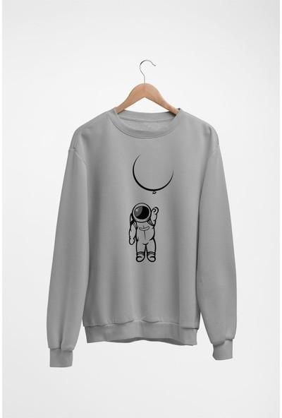 Angemiel Wear Ay Balonu Tutan Astronot Kadın Sweatshirt