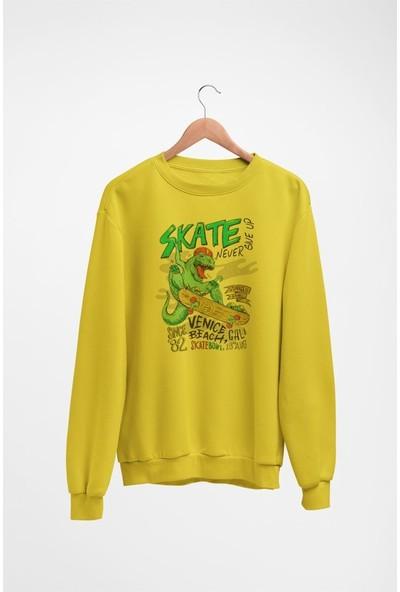 Angemiel Wear Eğlenceli Kaykaycı Dinazor Kadın Sweatshirt