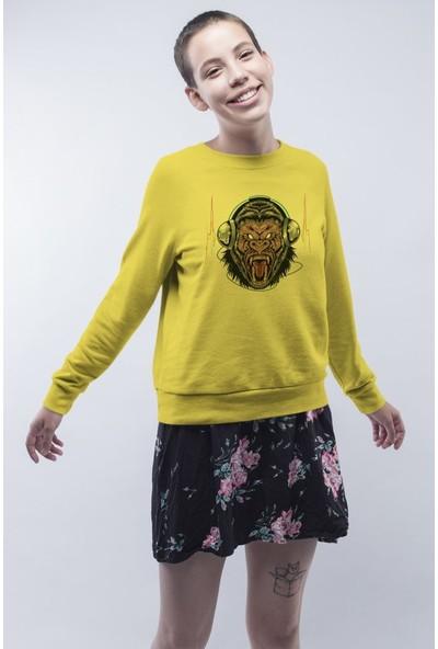 Angemiel Wear Müzik Dinleyen Goril Kadın Sweatshirt