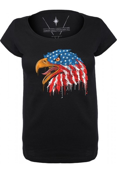 Angemiel Wear Amerikan Şahini Pamuklu Siyah Kadın T-Shirt