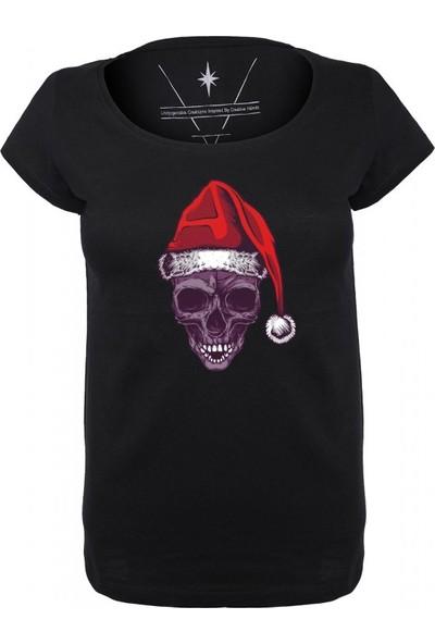 Angemiel Wear Noele Hazır Kurukafa Pamuklu Beyaz Kadın T-Shirt