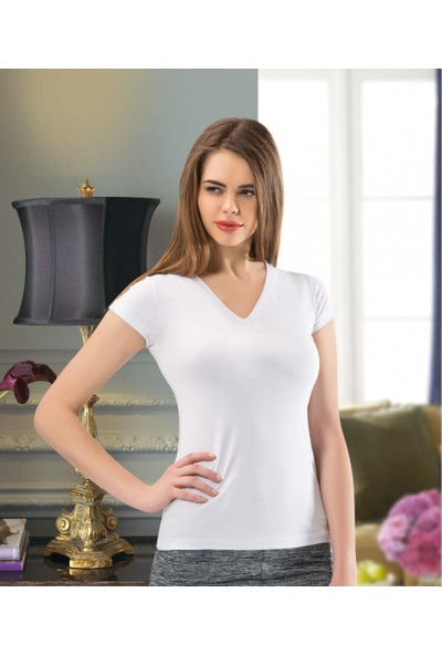 Nco Kadın V Yaka Kısa Kol T-Shirt