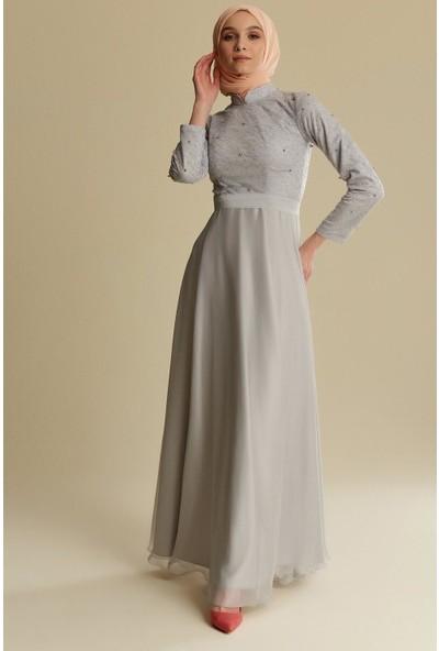 Tuğba & Venn Kadın İnci Düğmeli Abiye Elbise