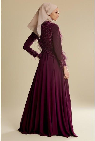 Tuğba & Venn Kadın Tüylü Abiye Elbise