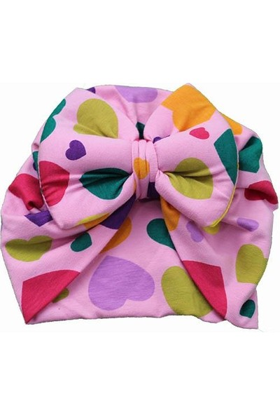 Asalya Bebe Kız Bebek Pamuklu Dertsiz Bone Pembe Renkli Kalpli