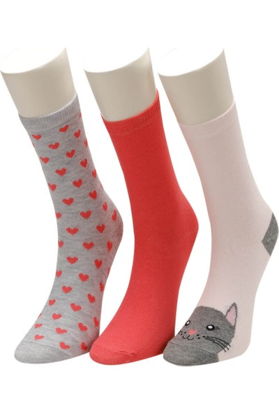 I Cool Caty 3 Lu Skt-G Pembe Multı Kız Çocuk Soket Çorap