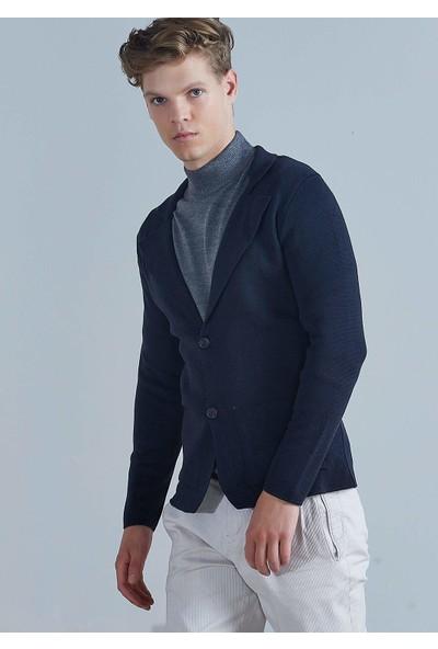 Adze Erkek Lacivert Üç Düğmeli Triko Yün Ceket