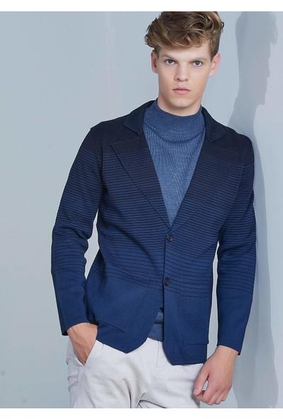 Adze Erkek İndigo Çizgili Yün Blazer Triko Ceket