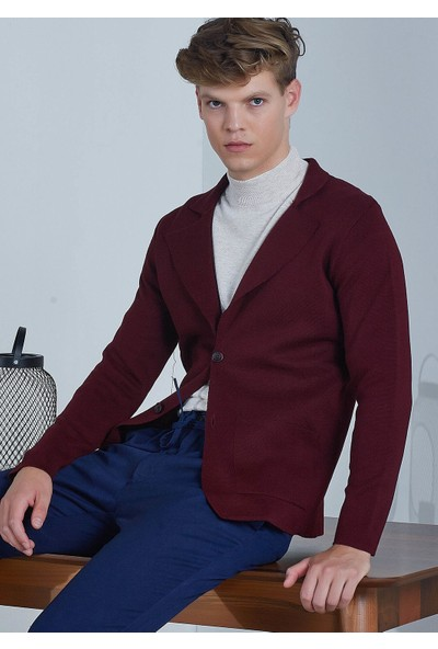 Adze Erkek Bordo Üç Düğmeli Triko Yün Ceket