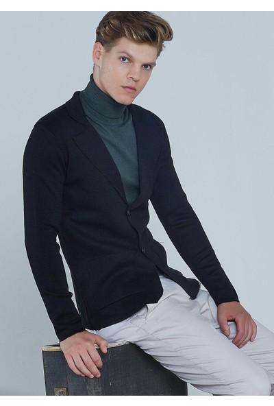 Adze Erkek Siyah Üç Düğmeli Triko Yün Ceket