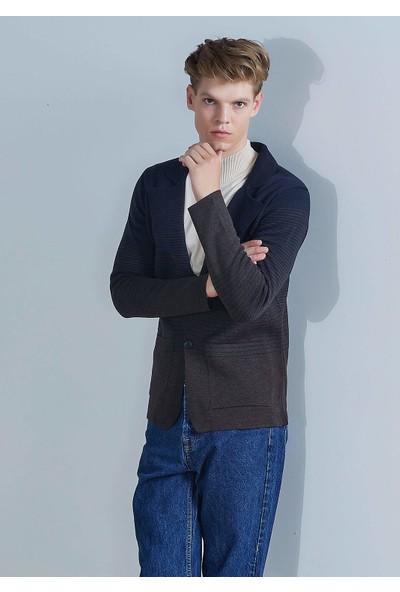 Adze Erkek Lacivert Çizgili Yün Blazer Triko Ceket