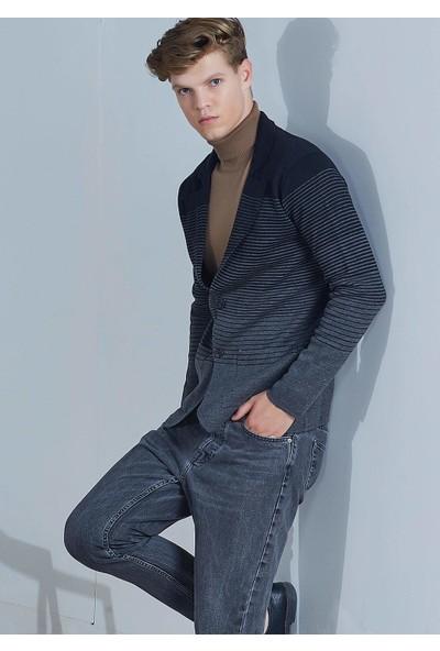 Adze Erkek Siyah Çizgili Yün Blazer Triko Ceket