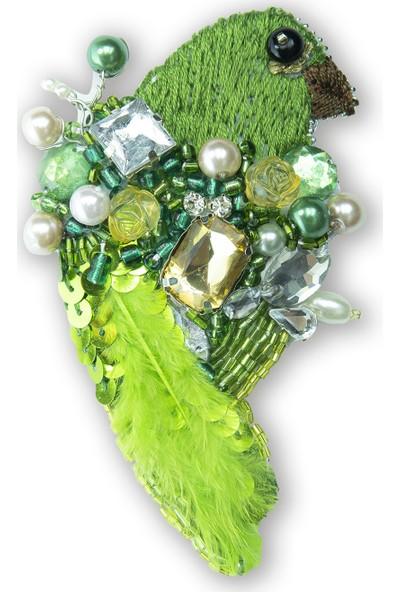So Noble Aksesuar Yeşil Kus Broş