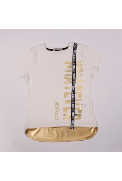 Toontoy Kız Çocuk Lame Şeritli T-Shirt