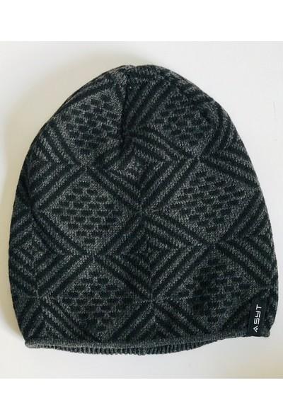 Aressa Home Erkek Bere Şapka Trend Model Siyah Gri