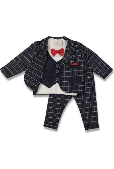 Fahroni Erkek Bebek Kare Desen 2'li Takım Damatlık
