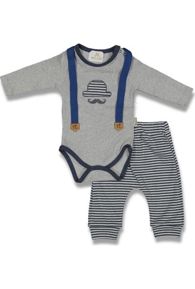Fahroni Erkek Bebek Mavi Çizgili Şapkalı Bıyık Badi