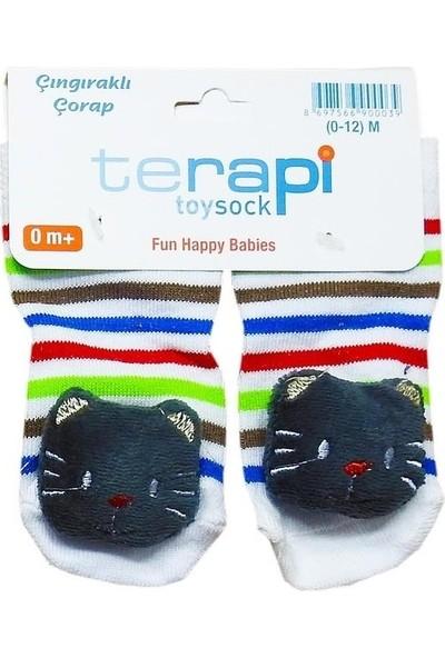 Terapi Toysock Erkek Bebek Çıngıraklı Çorap Kedicikli