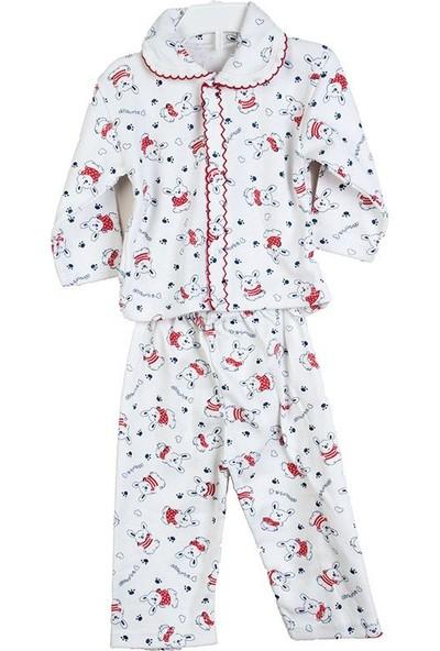 Hepsiihtiyaç Kroşartlı Bebek Pijama Takımı Kırmızı - Beyaz
