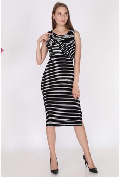Luvmabelly 5550 - Siyah Çizgili Kolsuz Yırtmaçlı Emzirme Elbise