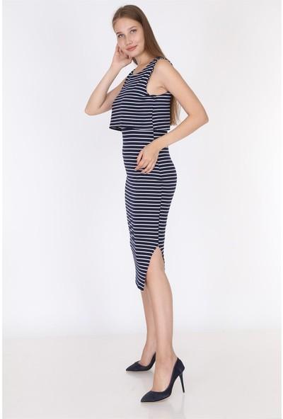 Luvmabelly 5551 - Lacivert Çizgili Kolsuz Yırtmaçlı Emzirme Elbise