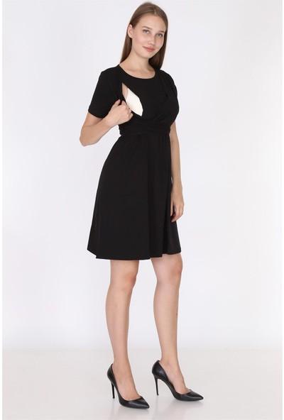Luvmabelly 5700 - Siyah Fiyonklu Emzirmeye Uygun Şık Elbise