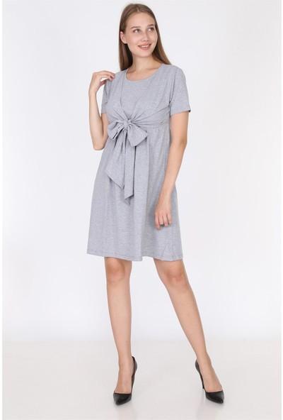 Luvmabelly 5701 - Gri Fiyonklu Emzirmeye Uygun Şık Elbise