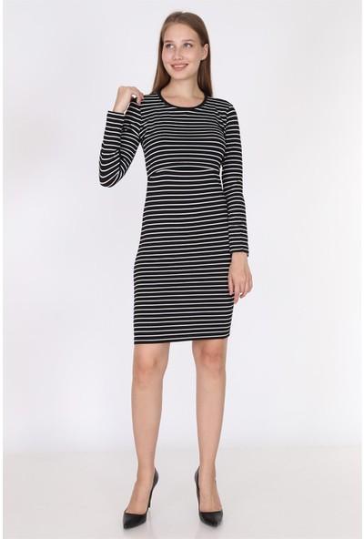 Luvmabelly 5750 - Siyah Çizgili Uzun Kollu Emzirme Elbise